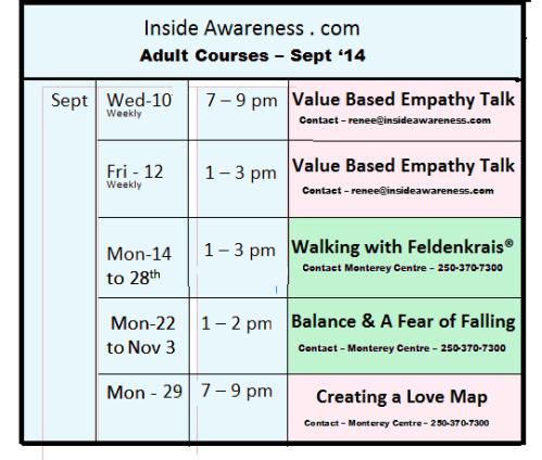 Sept '14 class schedule